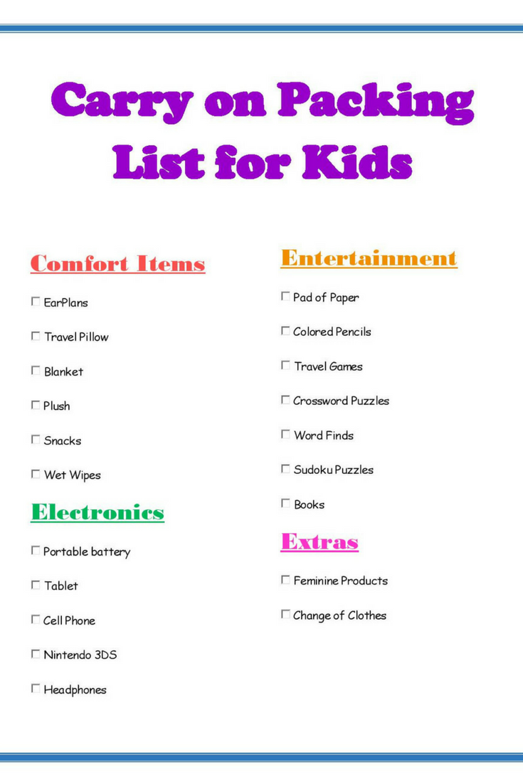 Ultimate carry on packing list for kids with printable! #packinglist #travelwithkids #traveling #packingforkids #printable