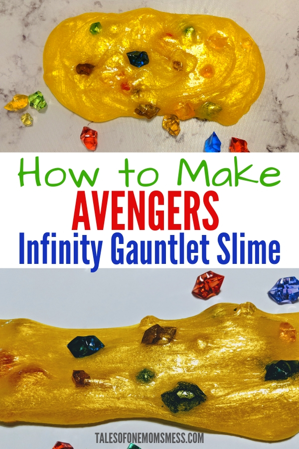 DIY Avengers Infinity Gauntlet slime. Perfect activity for any Avengers themed party! #Avengers #Marvel #InfinityGauntletslime #InfinityWar #slime