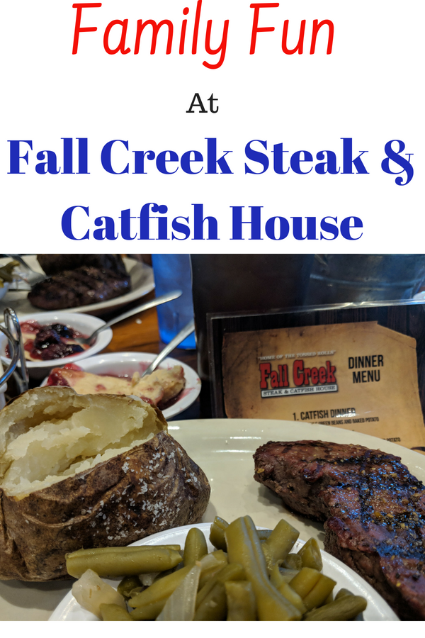 Don't miss out on the family friendly Fall Creek Steak & Catfish House in Branson, Missouri. #BloggingBranson #BransonMissouri #Branson #TravelBranson #Travel #familytravel #foodie