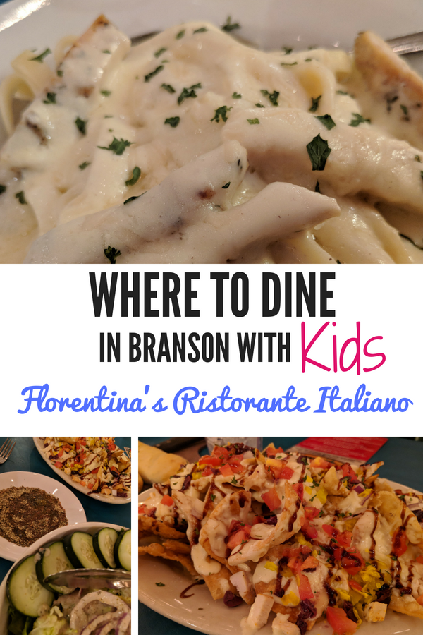 Florentina's Ristorante Italiano is the perfect place to dine with kids when visiting Branson, Missouri. #BloggingBranson #FlorentinasPasta #BransonDining #Familytravel #travelingwithkids