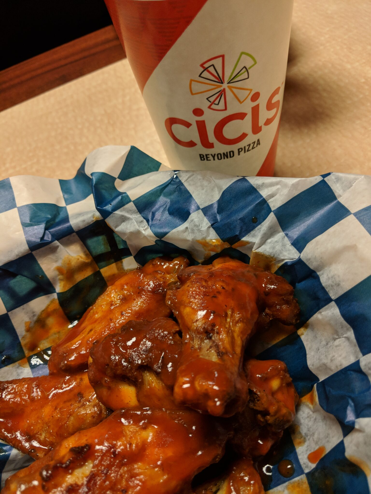 These gluten free wings at the Branson Cici's were tasty.