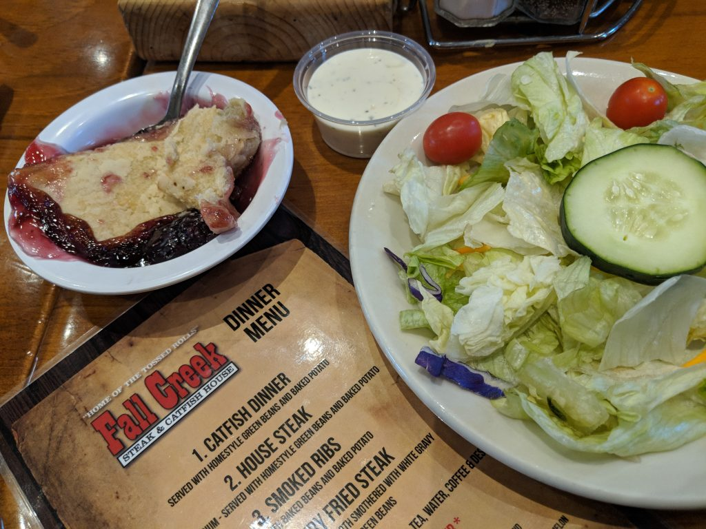 Try the cobbler at Fall Creek Steak & Catfish House.
