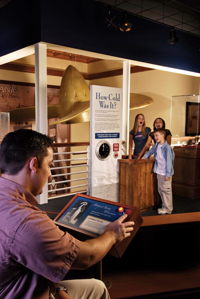 Test out the frigid waters in the interactive gallery at the Titanic Museum in Branson.
