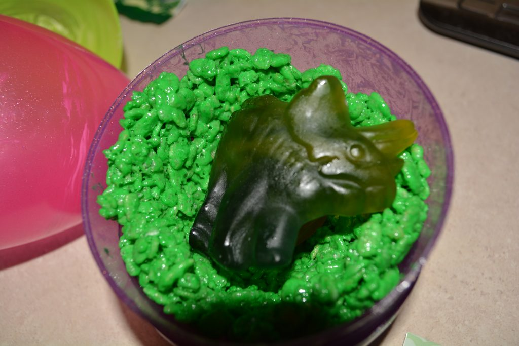 Gummy dinosaurs make these treats stand out!