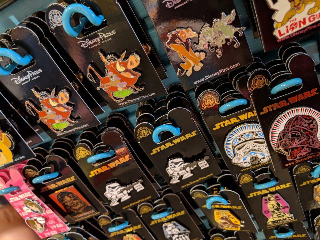 Collectible trading pins are extremely popular and are an inexpensive Disney World souvenir.