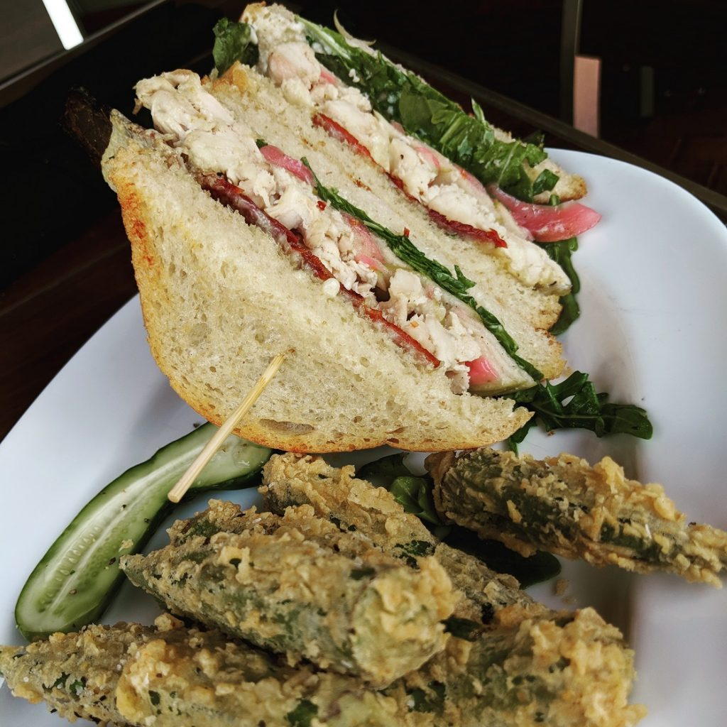 The Roast Chicken Frisco Club with Fried Okra hits the spot at Marlow's Tavern Orlando