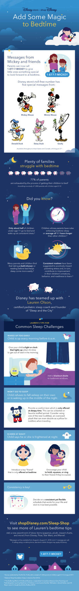 Tips to overcome common sleep problems and new Disney character Calls for bedtime.