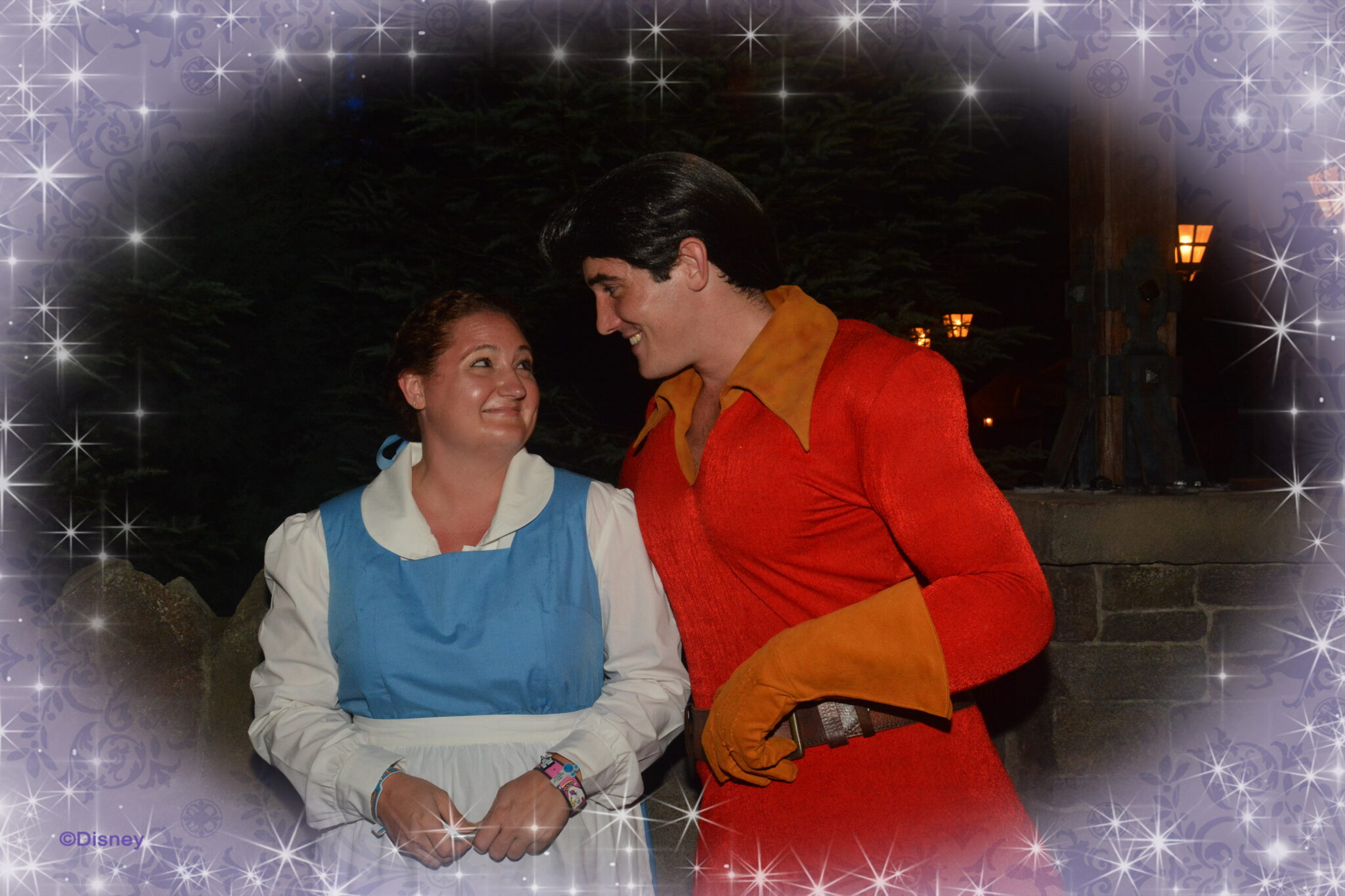 Dressed up as Belle at Mickey's Not So Scary Halloween Party meeting Gaston.