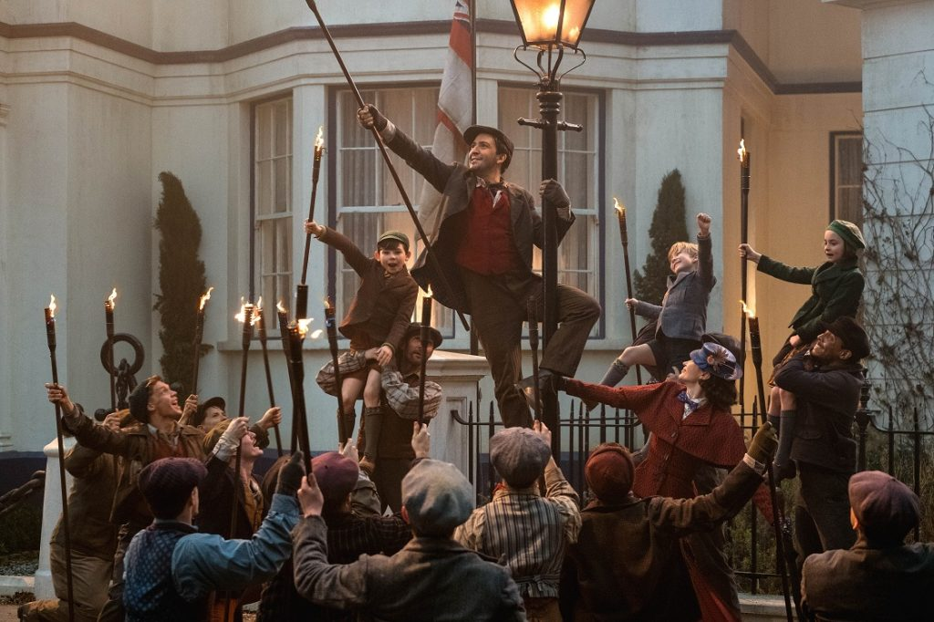 The lamplighters steal the show in Mary Poppins Returns.