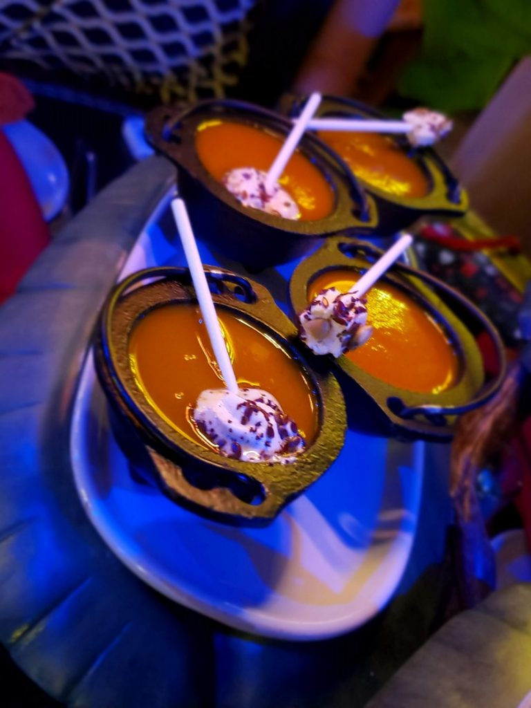 Shared appetizers include Winter Squash Bisque at Storybook Dining Snow White character meal
