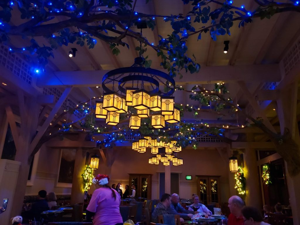 You are transported to the Enchanted Forest at Storybook Dining Snow White character meal.