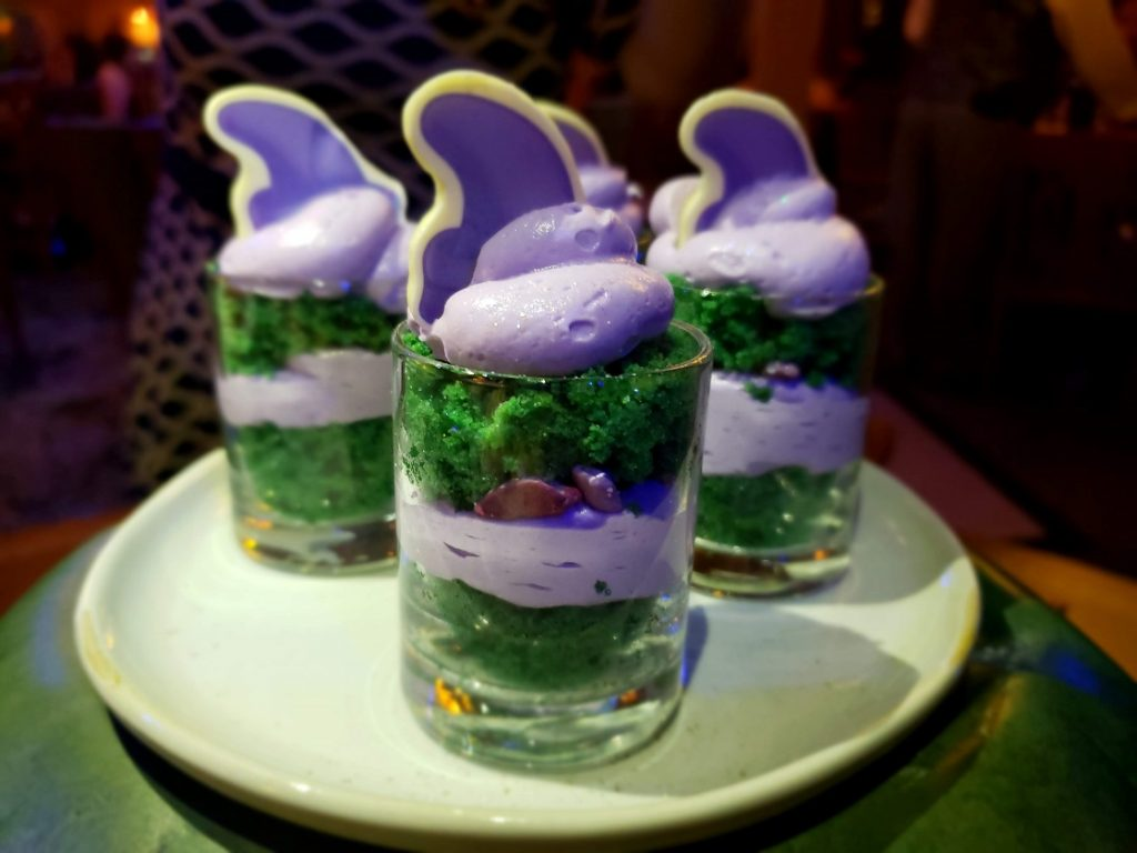 The Miner's Treasures dessert is sure to be a hit with the kdis at Storybook Dining Snow White character meal.