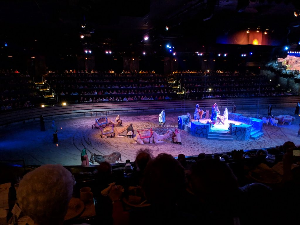 Live nativity scene at Dolly Parton's Stampede Christmas show