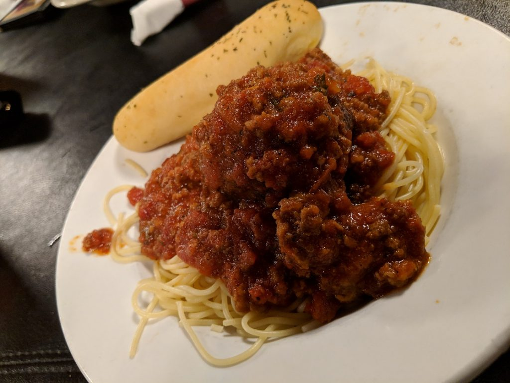 Spaghetti with meat sauce at Pasgetti's