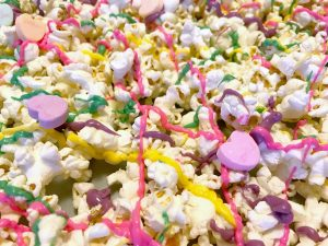 Sugar Rush candy popcorn is a sweet treat perfect for family movie night.