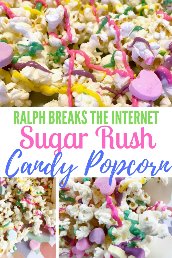 Sugar Rush candy popcorn is a yummy and sweet treat. It's simple to make, fun to eat and perfect snack to watch Ralph Breaks the Internet. #RalphBreakstheInternet #familymovienight #familymovie #simplesnack