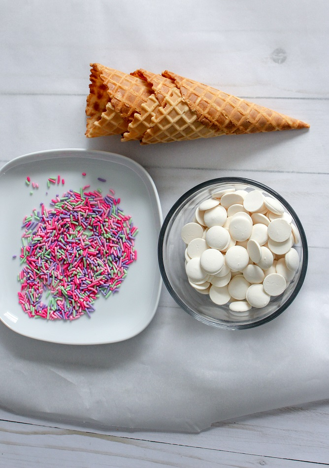 Make your own chocolate covered cones for your no churn ice cream.