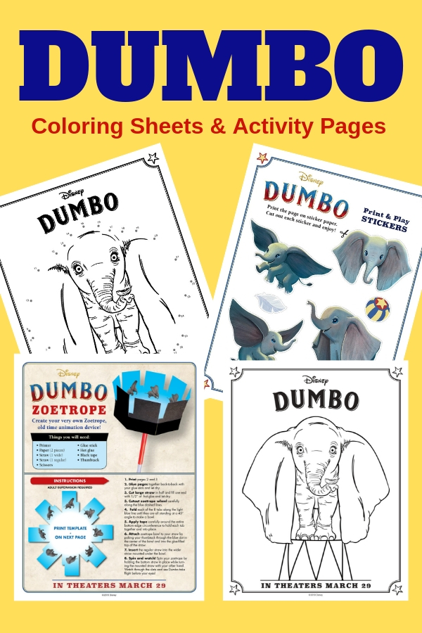 Let your creativity soar with these fun and free Dumbo printables! Coloring sheets, activity pages and more. #Dumbo #corloringpages #printables #crafts #DIY