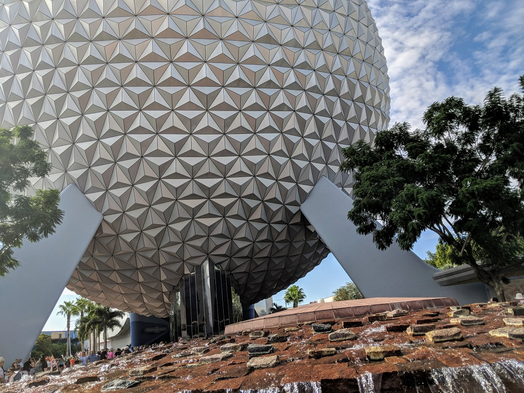 Spaceship Earth at Epcot on a sunny day.