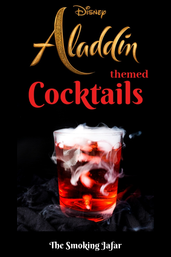 Two Aladdin inspired cocktails including The Smoking Jafar and The Blue Genie. Recipes included and can be made into kid-friendly mocktails! #Aladdin #Disneymovies #AladdinParty