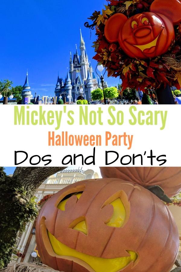 Pinnable image with Mickey's Not So Scary text and fall pictures of Magic Kingdom.