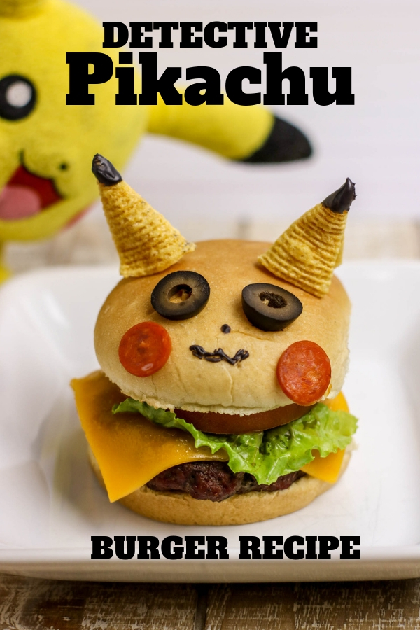 Detective Pikachu burger will be the star of any Pokemon party or makes a fun family dinner! Instructions and recipe can be found in the post. #DetectivePikachu #PokemonParty #Pikachu