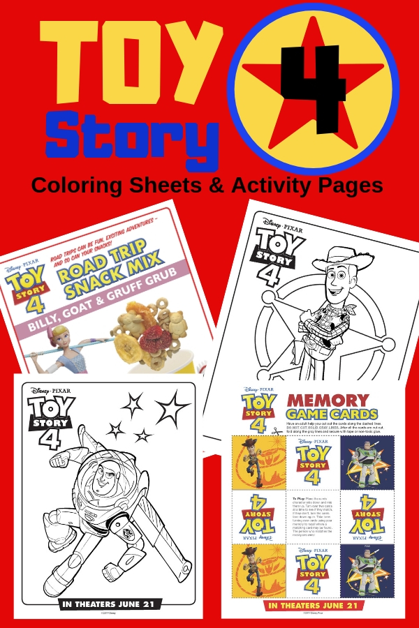 FREE downloadable Toy Story 4 printables including coloring sheets and activity pages