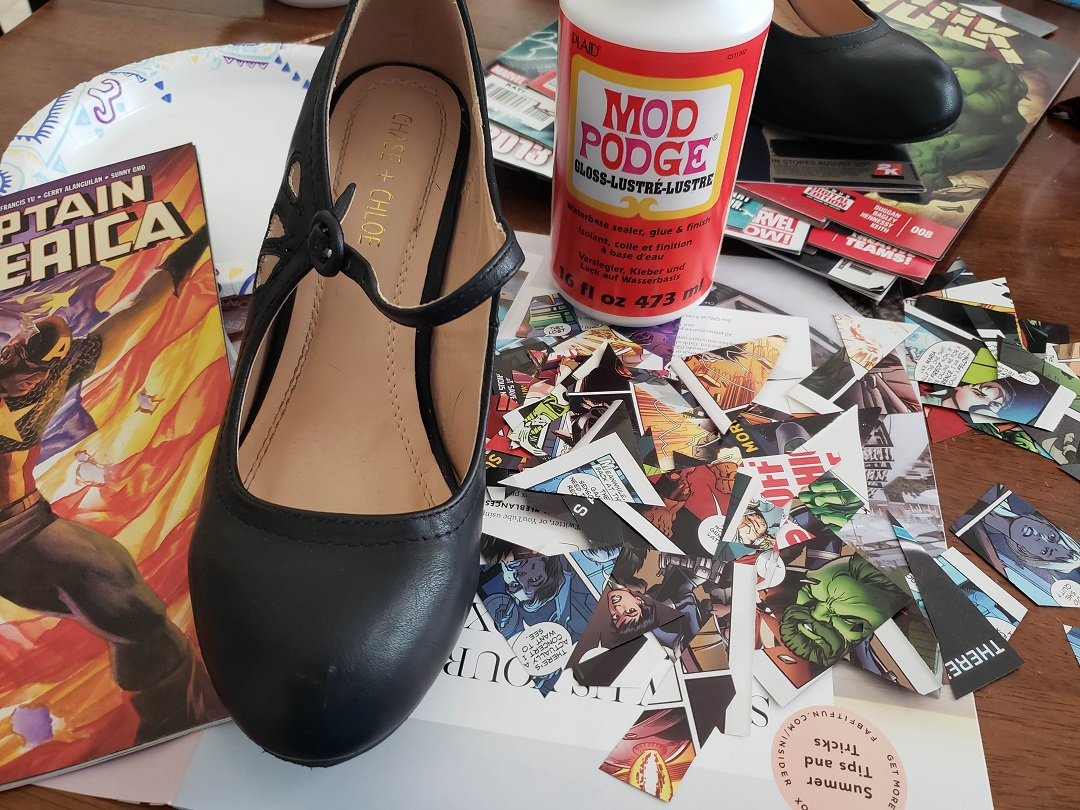 All you need is comic books, shoes and Mod Podge to create your own comic book shoes.