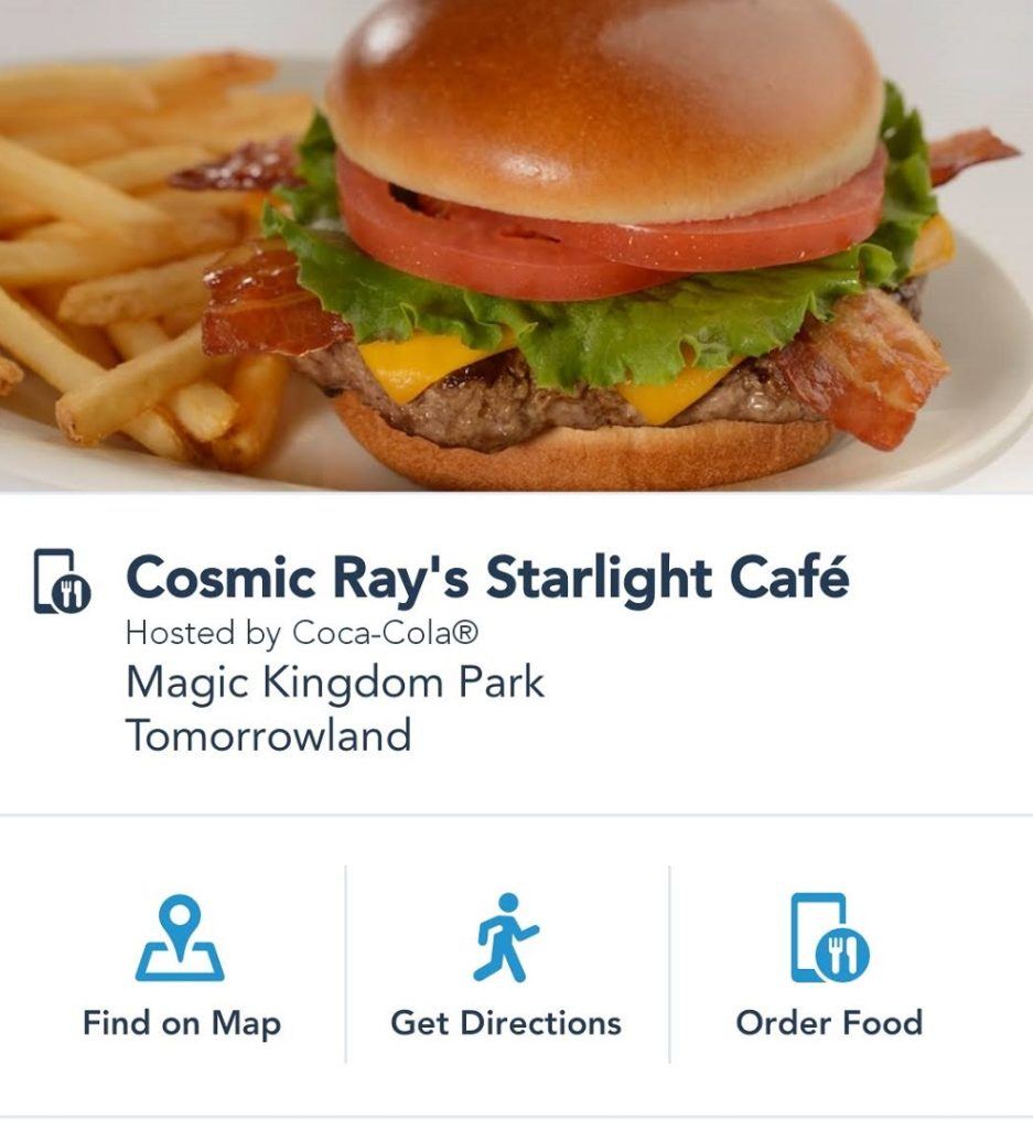 Click on order food to place your to-go order at Disney World quick-service.