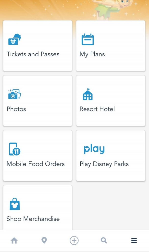 Access Disney mobile ordering from the main menu on the bottom right of the app.