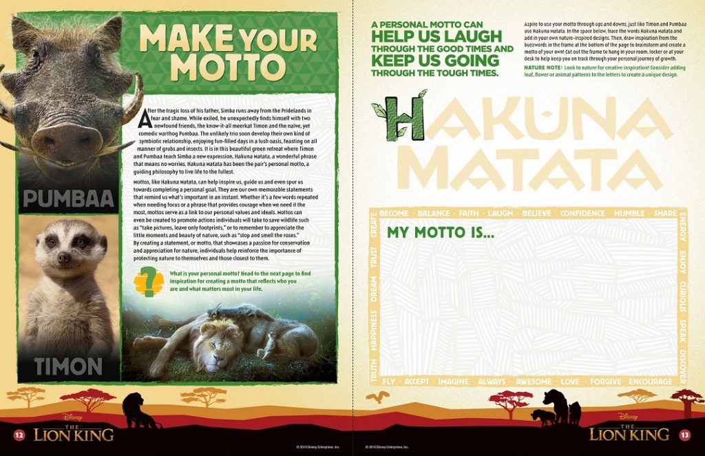 What is a motto? Find out with these Lion King activity sheets