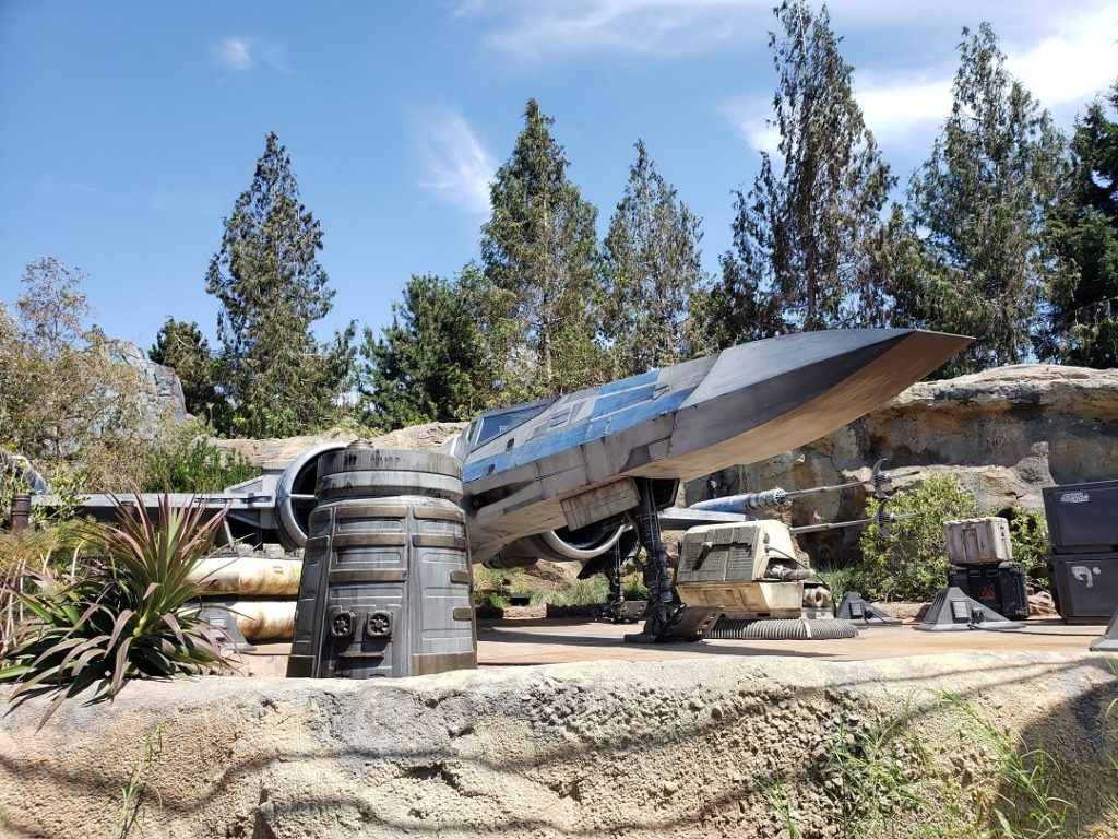 See life-size Resistance X-Wing Fighter in Star Wars Galaxy's Edge.