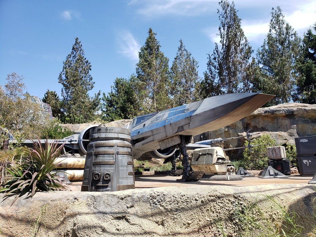 life-size Resistance X-Wing Fighter in Star Wars Galaxy's Edge.