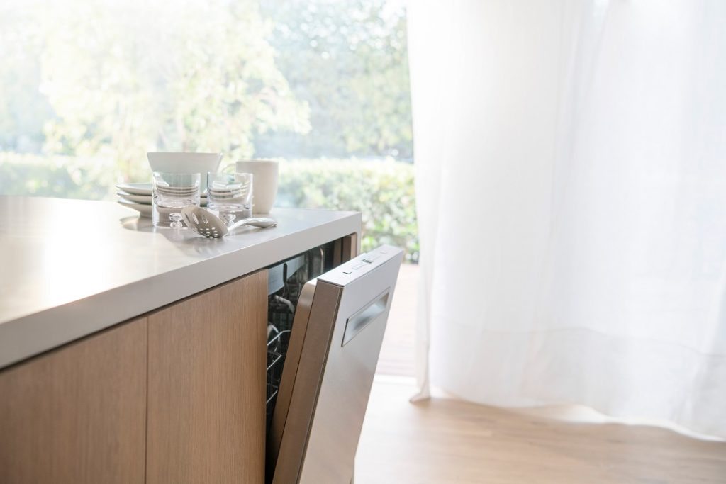 The AutoAir Bosch 500 series dishwasher using fresh air technology to dry dishes better.