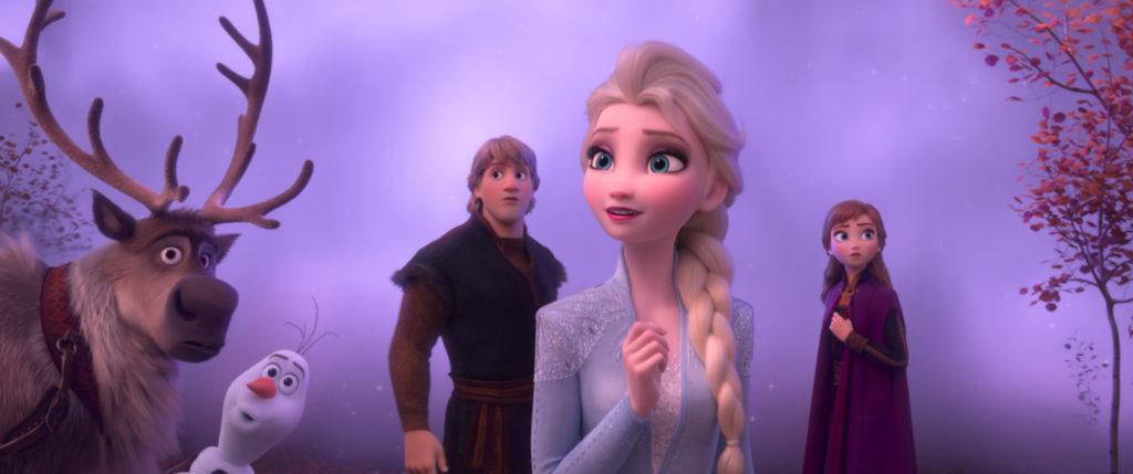 Elsa, Anna, Kristoff, Olaf and Sven walk through mist in Frozen 2.