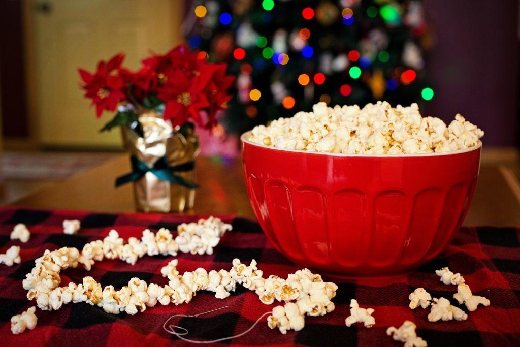 Bowl of popcorn for stringing on tree.