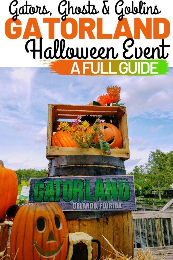 Pumpkins, hay bales and barrels with a sign that says Gatorland Orlando, Florida.