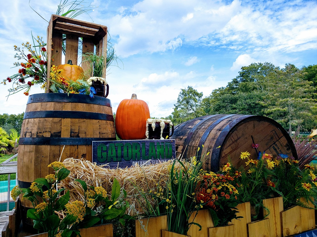 Barrels, hay bales and pumpkins at Gatorland's Halloween event.