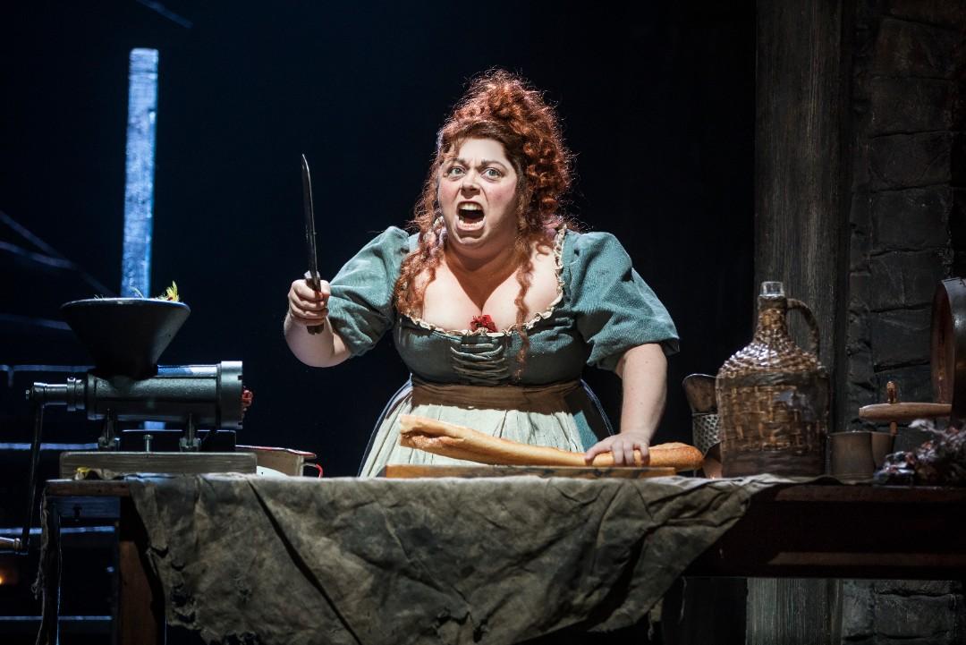 Allison Guinn as Madame Thenardier in Les Miserables.