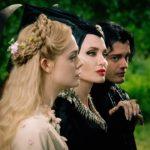 Aurora (Elle Fanning), Maleficent (Angelina Jolie), and Diaval (Sam Riley) star in Disney's Maleficent: Mistress of Evil.