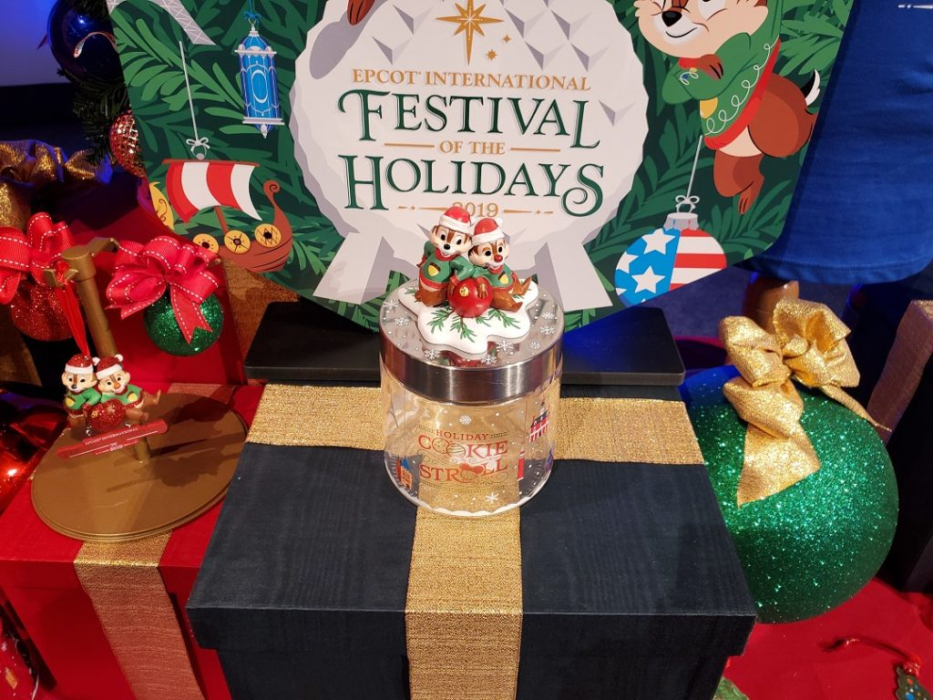 2019 Epcot International Festival of the Holidays cookie stroll jar available for purchase.