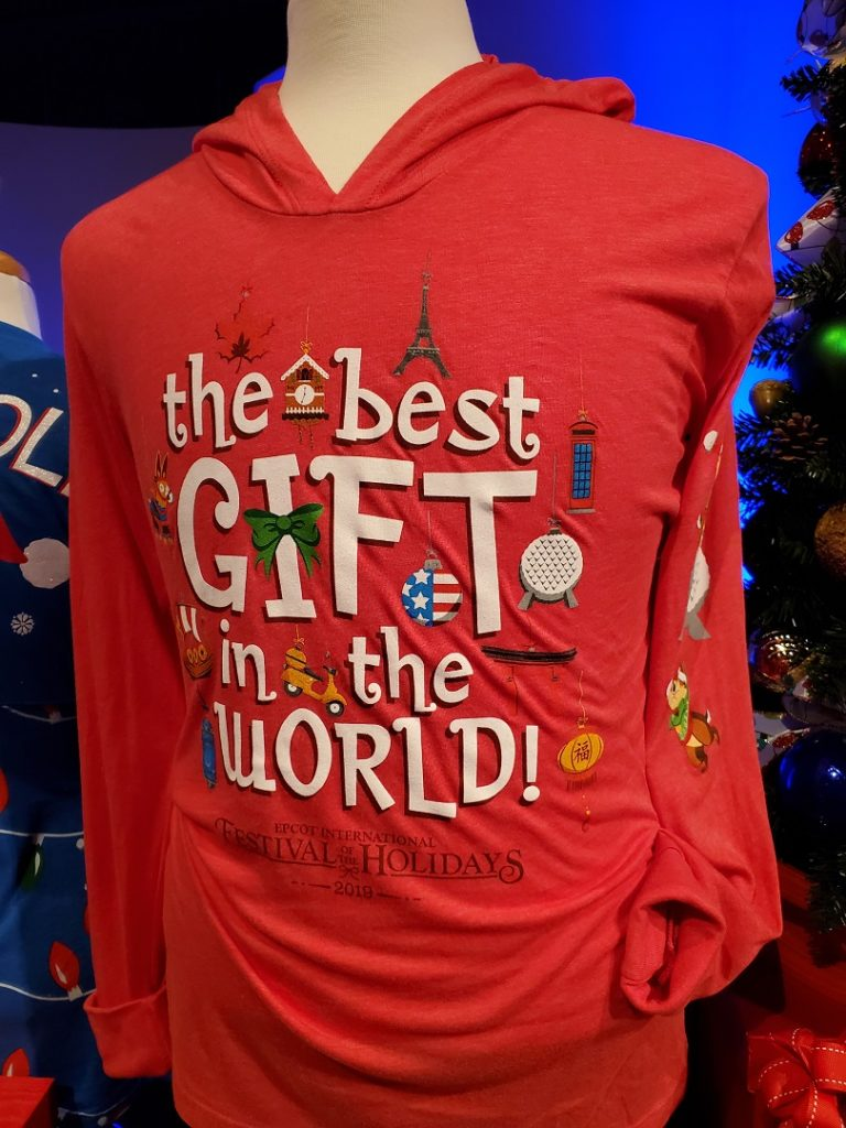 2019 Epcot International Festival of the Holidays t-shirt with words - the best gift in the world!