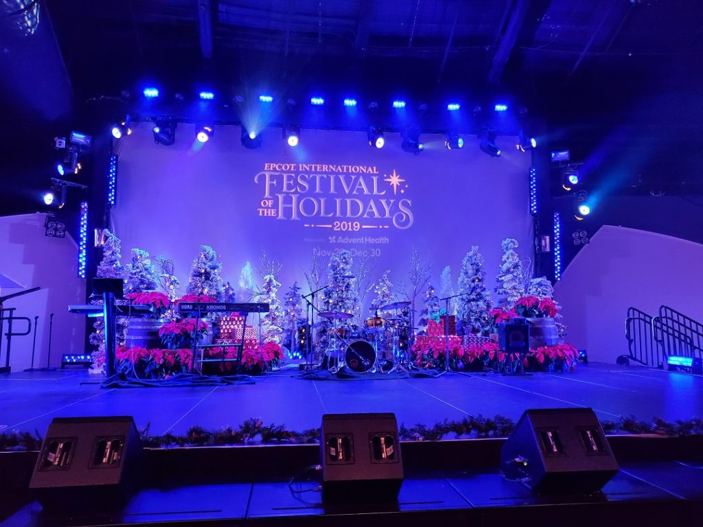 Stage all set up for a preview of the entertainment that will be at the 2019 Epcot International Festival of the Holidays