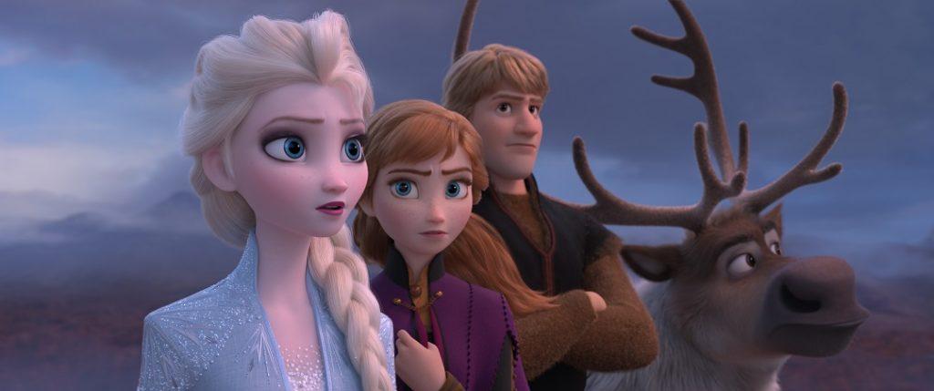 Elsa (Idina Menzel), Anna (Kristen Bell), Kristoff (Jonathan Groff) and Sven the reindeer.