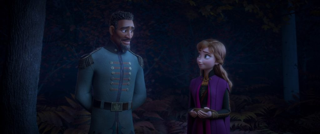 Lieutenant Destin Mattias (voiced by Sterling K. Brown) with Anna (voiced by Kristen Bell).