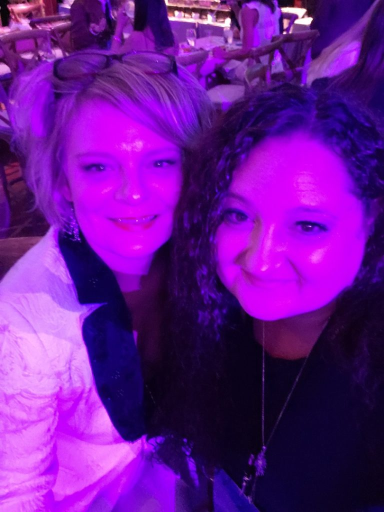 Martha Plimpton with fan at the after-party