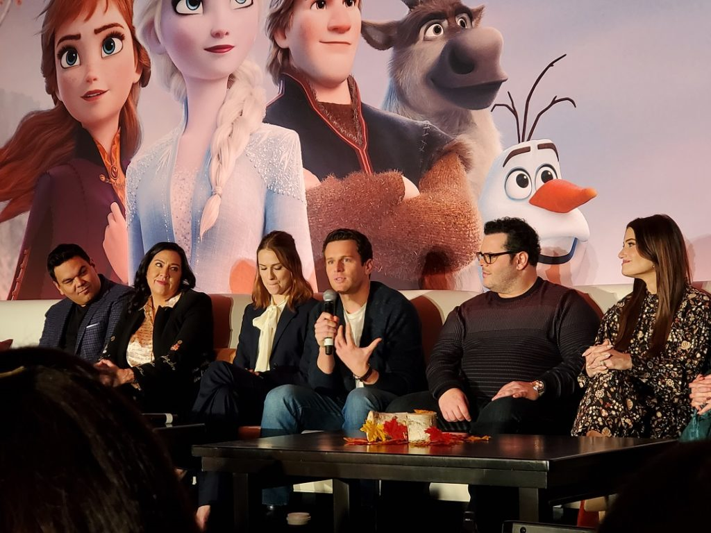 L to R Robert Lopez, Kristen Anderson-Lopez, Evan Rachel Wood, Jonathon Groff, Josh Gad and Idina Menzel at the Frozen 2 Press Junket.