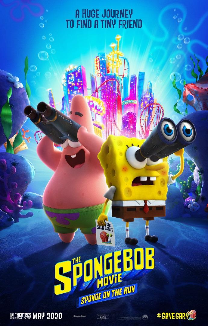 SpongeBob Movie Trailer poster featuring SpongeBob and Patrick with binoculars.