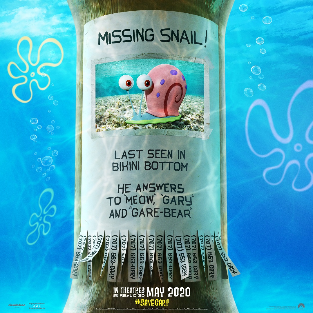 Missing Snail poster from the SpongeBob Movie trailer