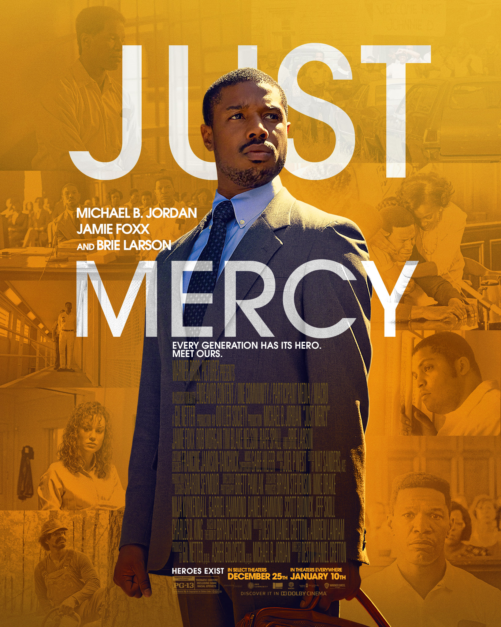 Michael B. Jordan featured on the Just Mercy movie poster.